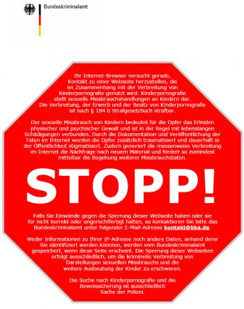 Stopp-Schild für Kinderporno-Sperren