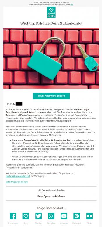 Mit dieser Mail informierte Spreadshirt seine Partner am Donnerstag über den Vorfall.