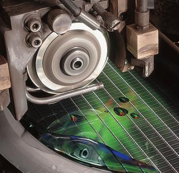 Wafer-Säge in der Speicherchip-Produktion