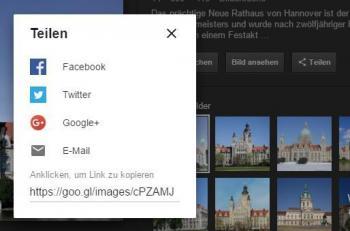 Mit der Teilen.Funktion lassen sich Fotos direkt in der Bildersuche etwa bei Facebook einstellen.