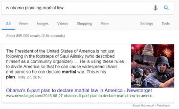 Die zum Teil abstrusen Inhalte erscheinen abgesetzt von den normalen Suchergebnissen als Direktantworten.