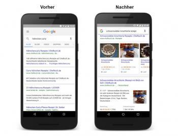 Mmmmh ... Google zeigt Rezepte mit Fotos direkt in den Suchergebnissen an. Seitenbetreiber können Google die nötigen Daten zuliefern.