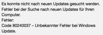 Auf neuen CPUs zeigt Windows Update diese Fehlermeldung.