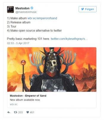 """""""Album aufnehmen, Open-Source-Alternative zu Twitter bauen"""": Metalband Mastodon reagierte auf die gleichnamige Twitter-Alternative."""