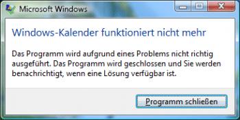 """Fehlermeldung: """"Kalender funktioniert nicht mehr"""""""