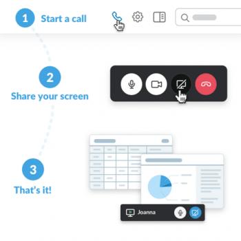 Screen-Sharing via Slack: Video-Konferenz starten, Icon anklicken – schon schaut man sich gemeinsam eine Präsentation an.