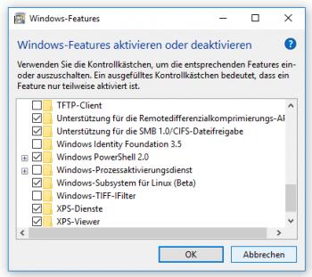 Auswahl von Windows-Features
