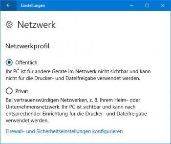 Das Netzwerkprofil lässt sich per Radio-Button umstellen.