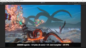 Mit dem neuen C# Job System und Compiler soll es in zwei Jahren möglich werden, etwa 100 mal so viele Objekte in Unity zu bewegen wie mit einem Single Thread.