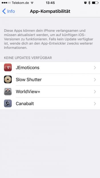 """Die """"Hall of Shame"""" in iOS 10.3: Dort aufgeführte Apps können mit iOS 11 nicht mehr geöffnet werden."""