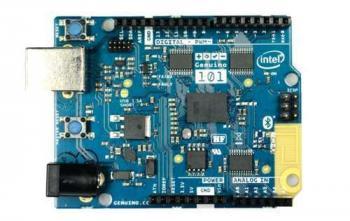 Der Arduino 101 hat die gleichen Stiftleisten wie der Uno und kann kompatible Shields aufnehmen