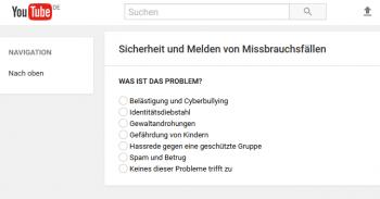 Über dieses Formular kann jeder YouTube-Besucher anstößige Forenbeiträge melden.