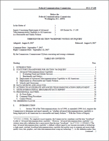 Die erste von insgesamt 21 Seiten des FCC-Dokuments, in dem eine Neubewertung der Internetversorgung in den USA diskutiert wird.