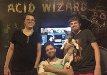 Die Darkwood-Entwickler samt Hündchen.