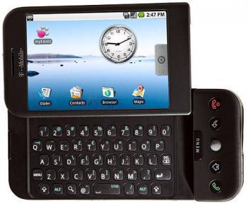 Das erste Android-Smartphone HTC Dream, in Deutschland als G1 verkauft.