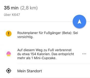 Jeder Fußmarsch führte in Google Maps kurzzeitig zu Mini-Cupcakes, die Kalorienschätzung soll bald aber verschwinden.