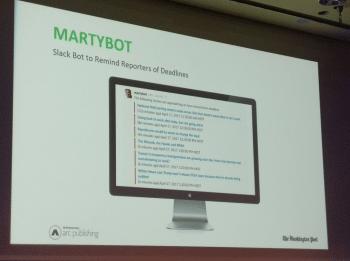 Ist der Redakteur bei der Washington Post mit einem Artikel in Verzug, meckert der Slackbot martybot.