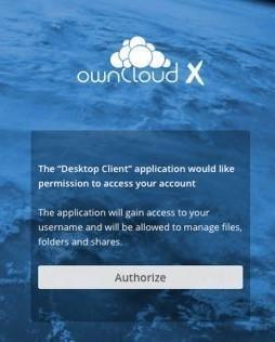 Die Anwendungsautorisierung erfolgt über das Webinterface des ownCloud-Servers.