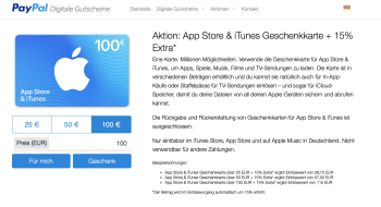 iTunes-Codes bei Paypal