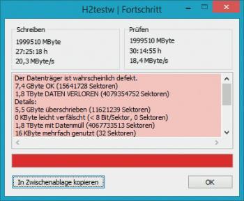 """H2testw bei einem vermeintlichen """"2TB""""-Stick"""