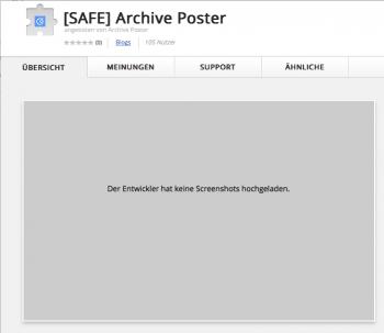 Die alte Version von Archive Poster wurde entfernt, der Nachfolger unter anderem Namen hochgeladen.