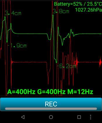 Screenshot der App mit Erschütterungskurve