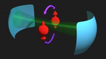 Kopplung zwischen Elektronenspins (rot) und Licht (grün)