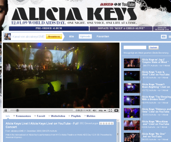 Ein Alicia-Keys-Konzert bei Youtube