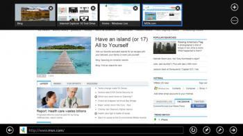 Microsofts Webbrowser Internet Explorer in Windows 8: Die Übersicht über die geöffneten Webseiten