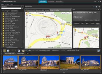 PaintShop Pro X5 versieht Fotos nach Markieren auf einer Google Map oder nach Import einer KML-Datei mit Geotags.