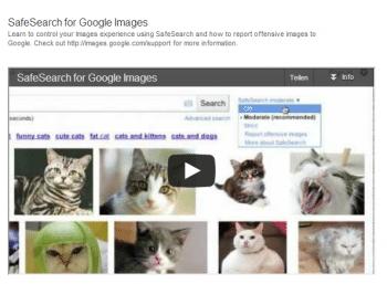 Google erklärt in der Sucheinstellungs-Hilfe mit Video und unverfänglichen Bildern, wie SafeSearch funktioniert und wozu es gut sein soll.