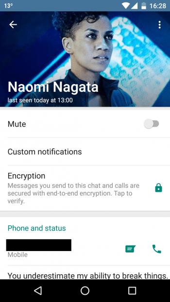 WhatsApp bestätigt: Unser yowsup-Testnutzer kommuniziert verschlüsselt mit uns.