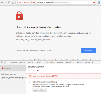 Chrome verweigert den Zugang zum HTTPS-Dienst, wenn das Zertifikat keinen Subject Alternative Name enthält.