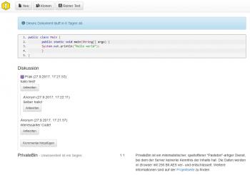 Die Pastebin-Alternative PrivateBin unterstützt sogar Syntax-Highlighting.