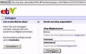 gefälschter eBay-Login