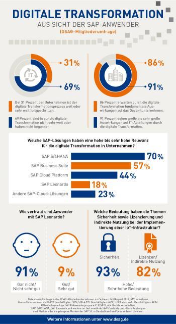 Immerhin 69 Prozent der SAP-Anwender schätzen ihre Digitalisierungsstrategie als rudimentär ein.