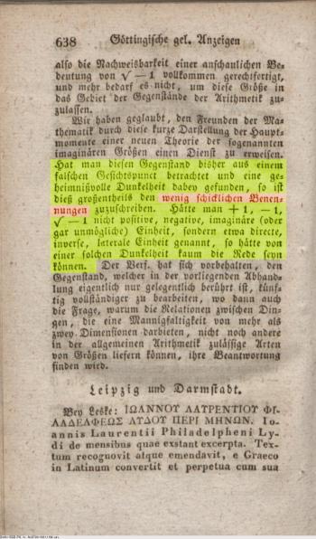 Historischer Text von Gauß
