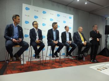 Die Verkünder der Salesforce-Google-Partnerschaft (v.l.n.r.):Ryan Aytay (Salesforce), Tariq Shaukat (Google), Mike Rosenbaum (Salesforce), Paul Muret (Google), Bob Stutz (Salesforce)