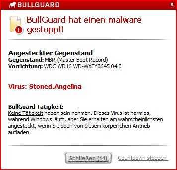 Screenshot der Warnung des Bullguard-Virenscanners.