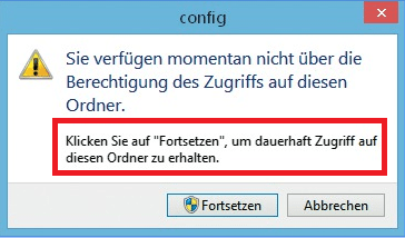 """Vorsicht: Klickt ein Admin auf """"Ja"""", können künftig alle angemeldeten Nutzer auf geschützten Bereiche des Dateisystems zugreifen."""