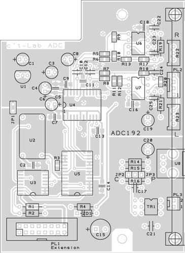 Mehr SMD als üblich: Der Wandler benötigt kurze Leitungswege, um sein Potenzial voll ausschöpfen zu können. Sparsame Zeitgenossen können den SPDIF-Impulsübertrager auch selbst auf einen 5-mm-Ringkern (Kennfarbe rot) wickeln – jede Wicklung besteht aus sechs Windungen CuL-Draht (0,4 mm).