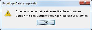 Die Entwicklungsumgebung behauptet, die Datei nicht öffnen zu können