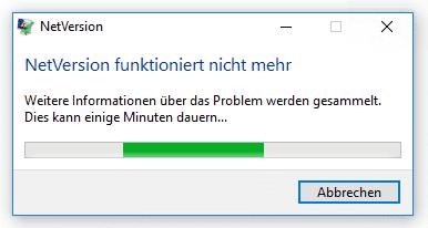 Erscheint einer Fehlermeldung, ist mit der .NET-Umgebung etwas im Argen.