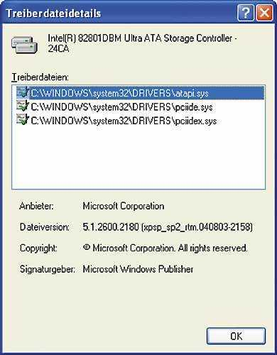 Der Geräte-Manager verrät, welchen Treiber Windows für den IDE-Hostadapter nutzt.
