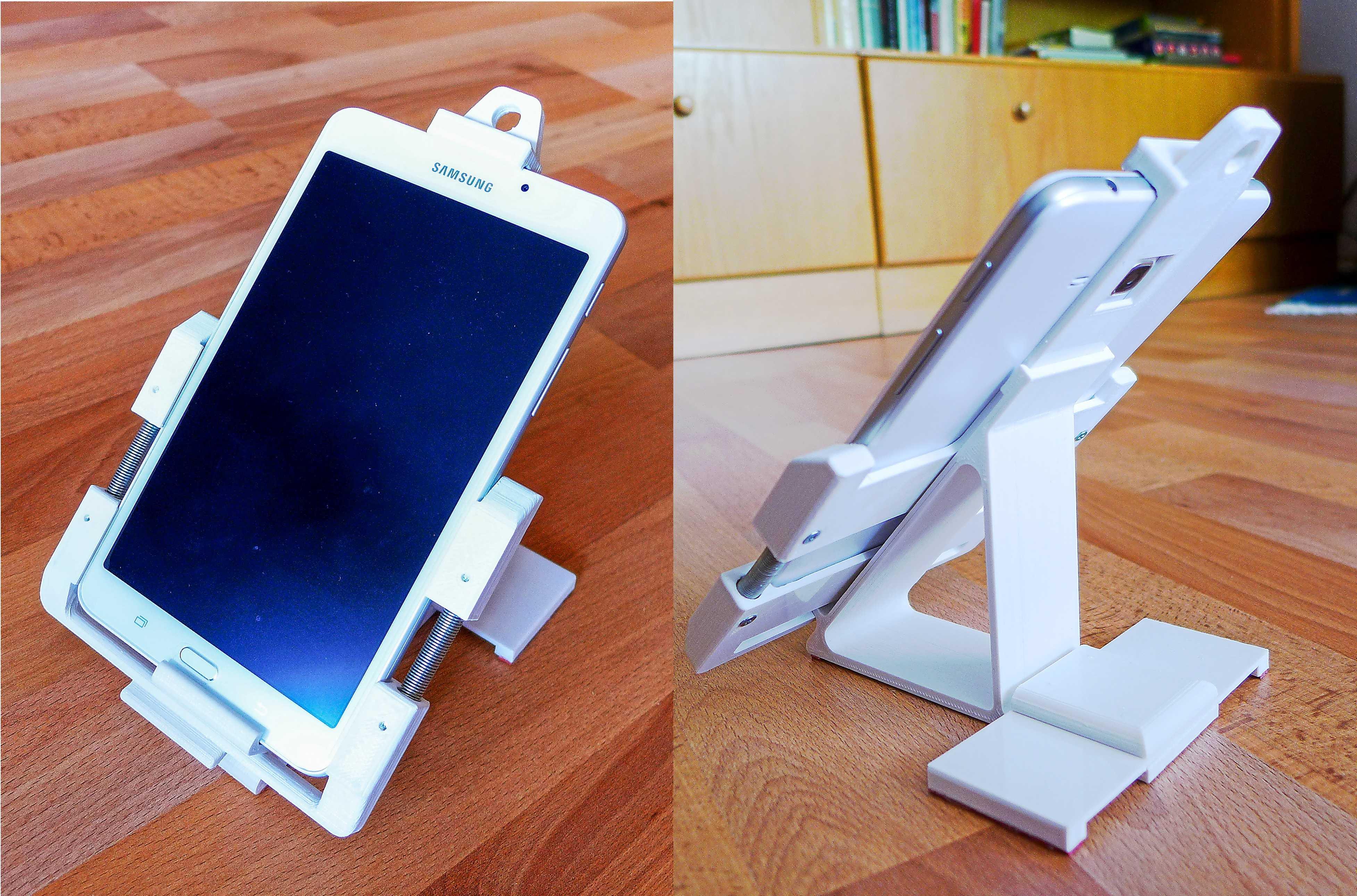 Collage: Tablet in 3D-gedruckter Halterung auf einem Tisch, von vorn und hinten gesehen.