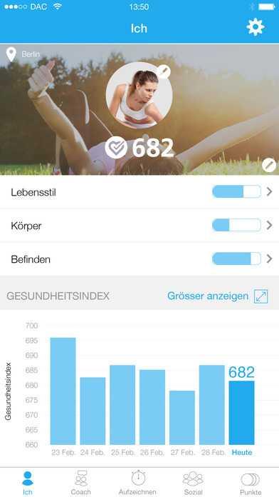 Per App hat der Anwender immer seinen Health Index im Blick.