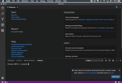 Startbildschirm VSCode mit PlatformIO