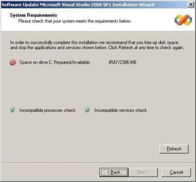Der Festplattenhunger von Visual Studio 2008 Service Pack 1