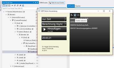 Das schwarze Menü in der Mitte des Anwendungsfensters dient der Steuerung des Live Visual Tree für XAML.