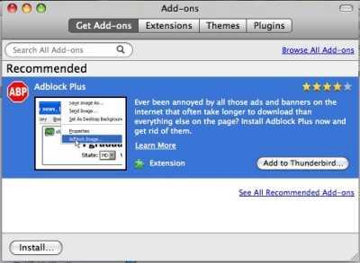 So sieht die Add-on-Verwaltung nun unter Mac OS X aus.